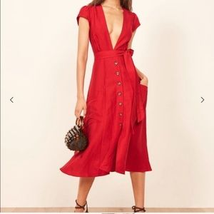 Reformation Bayou Red Linen Dress size 0